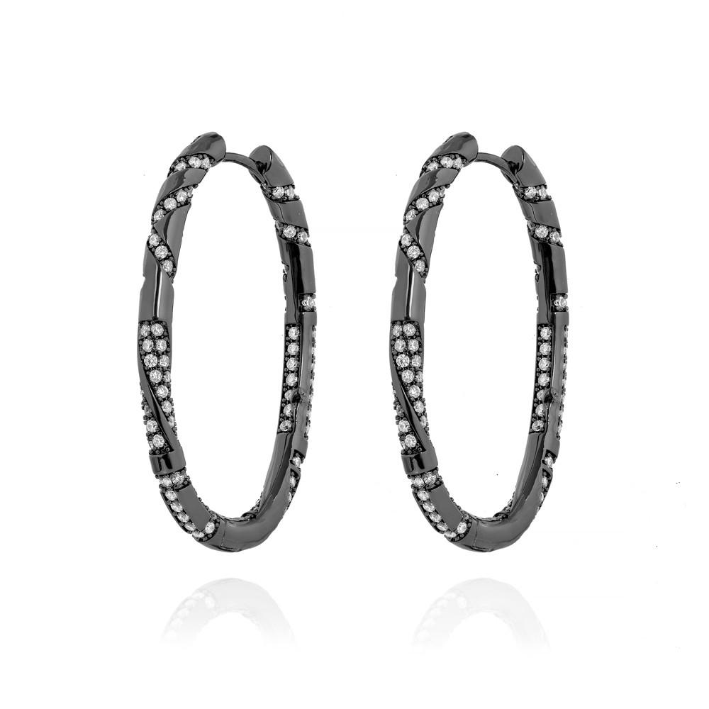 Brinco Argola Oval  Folheado Ródio Negro Formas Variadas com Micro Zircônia Cristal