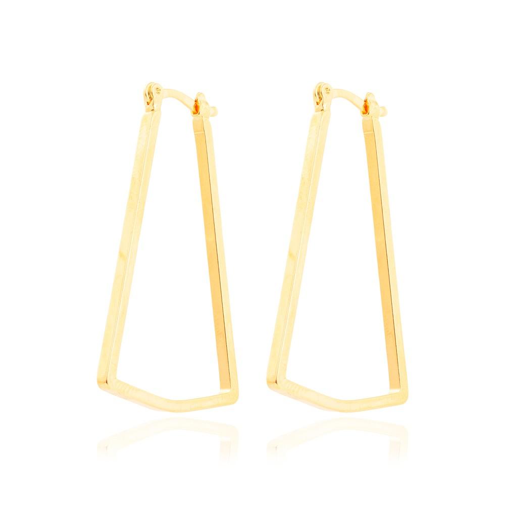 Brinco Argola Triangular Lisa Folheado Ouro 18K