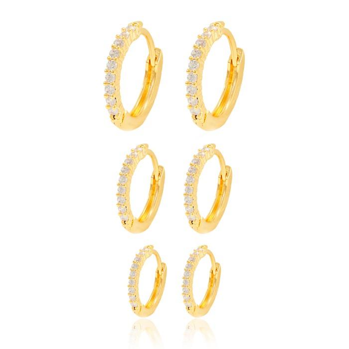 Brinco Argola Trio Folheado Ouro 18K Micro Zircônia Cristal com Detalhes na Caixa