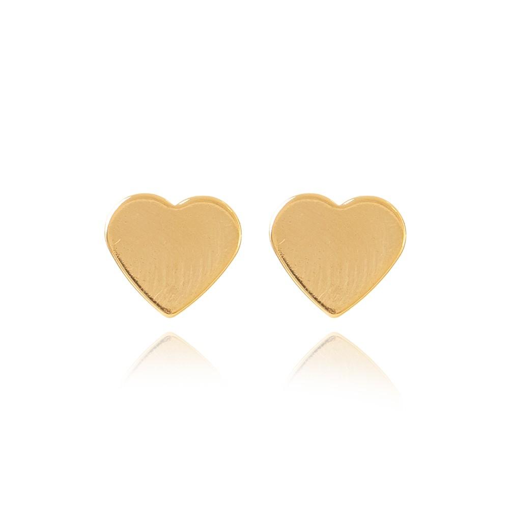Brinco Coração Chapa Liso Folheado Ouro 18K