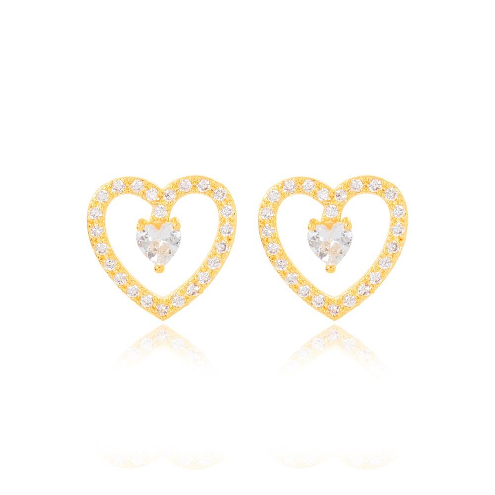 Brinco Coração Folheado Ouro 18K com Pedra Central de Coração Cristal