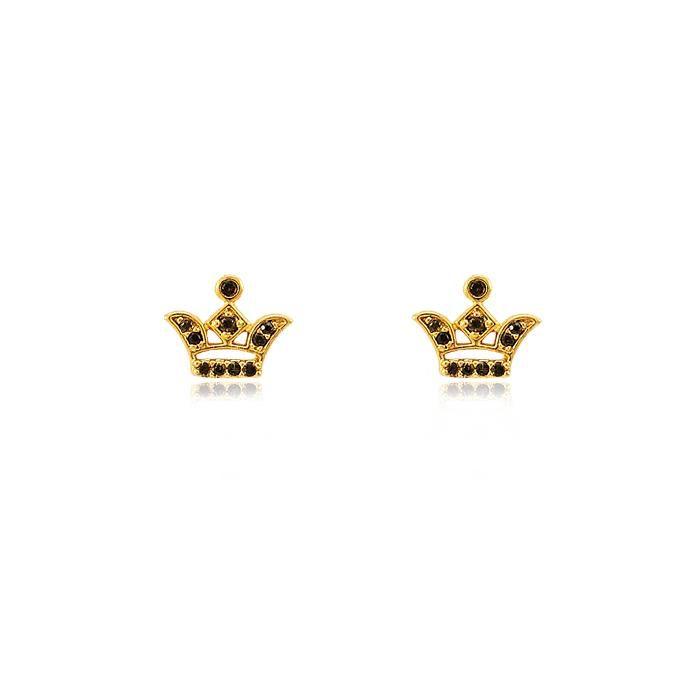 Brinco Coroa Folheado Ouro 18K Detalhada com Micro