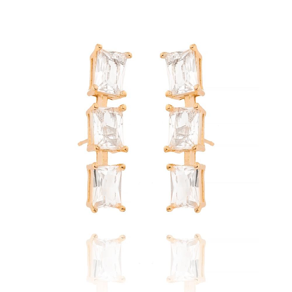 Brinco Ear Cuff Folheado Ouro 18K com Três Cristal de Retângulo