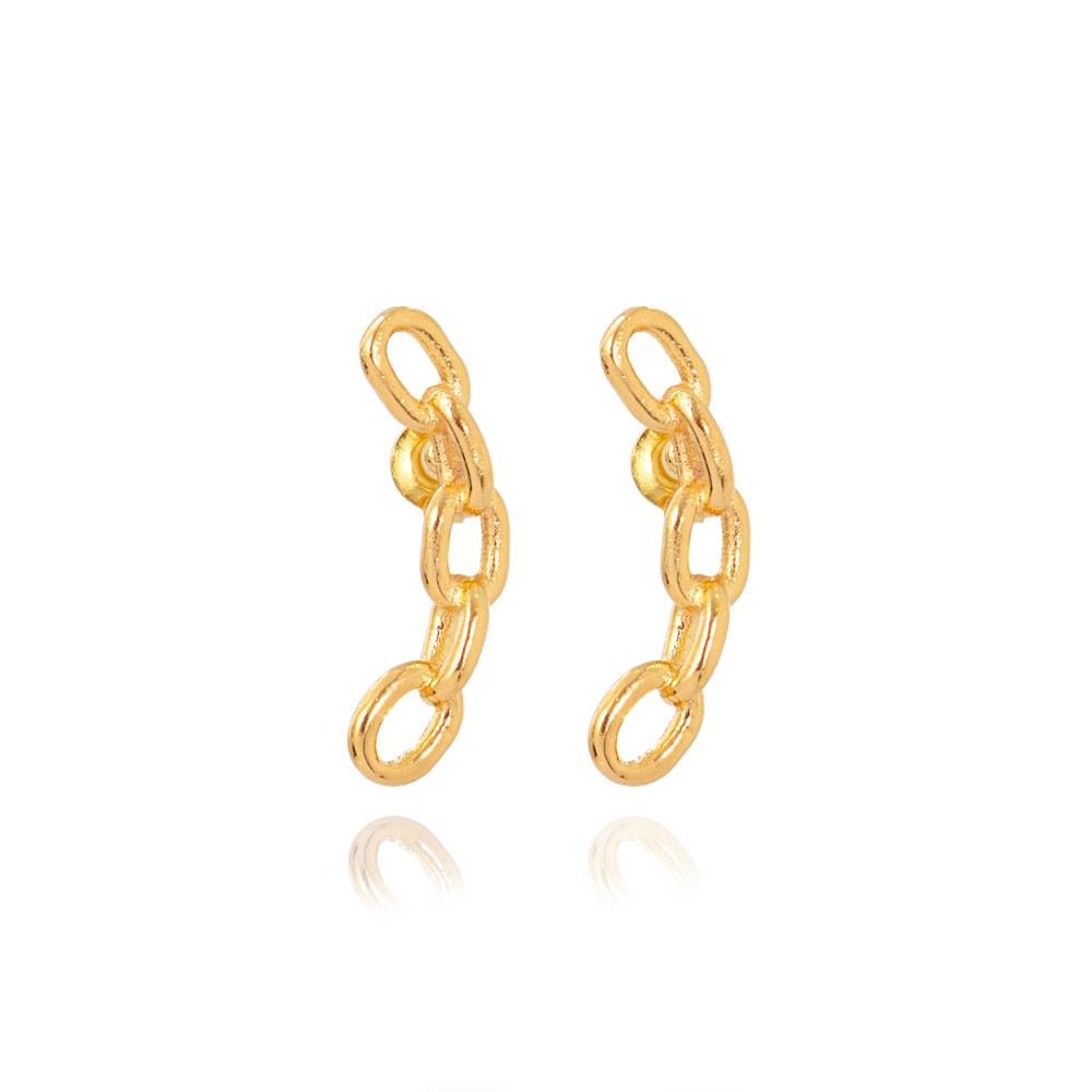 Brinco Ear Cuff Folheado Ouro 18K Corrente Elos Lisos
