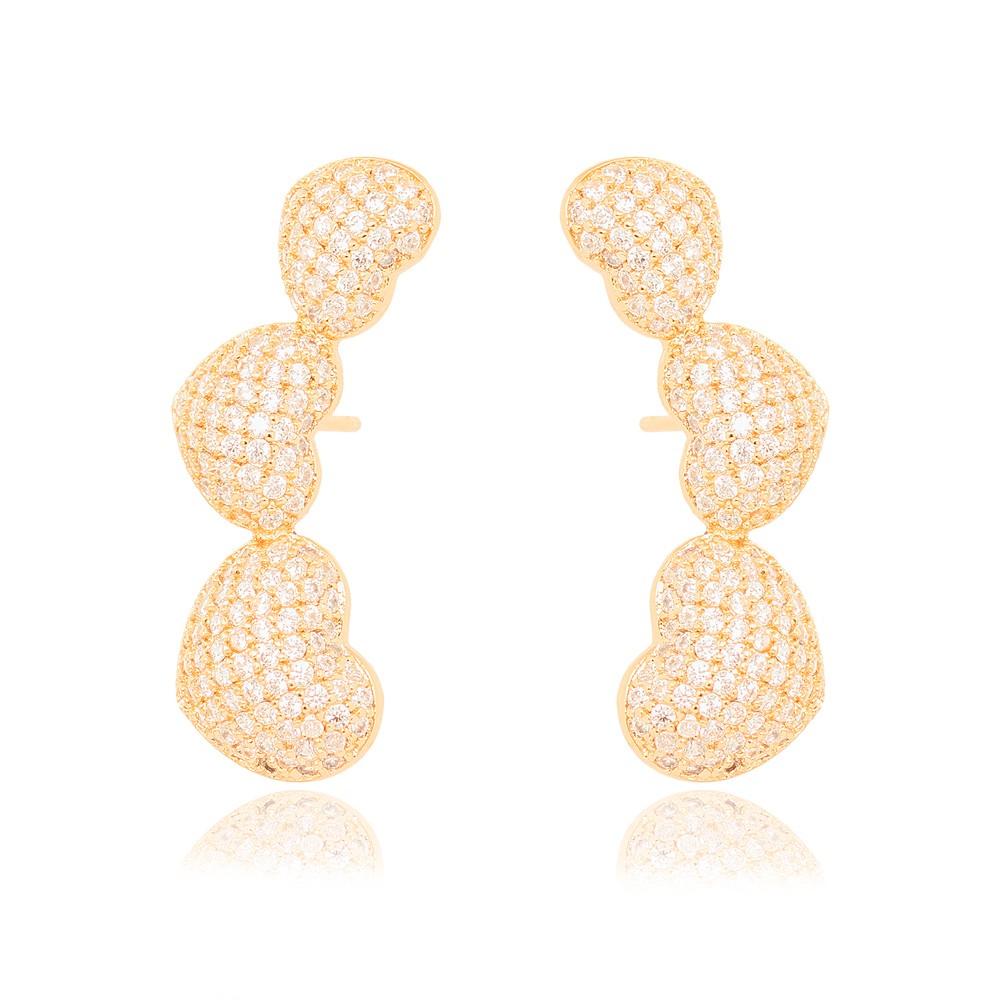 Brinco Ear Cuff Folheado Ouro 18K Três Corações de Micro Zircônia