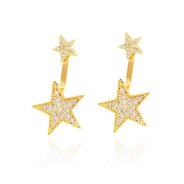 Brinco Ear Jacket Folheado Ouro 18K Estrelas com Micro Zircônia Cristal