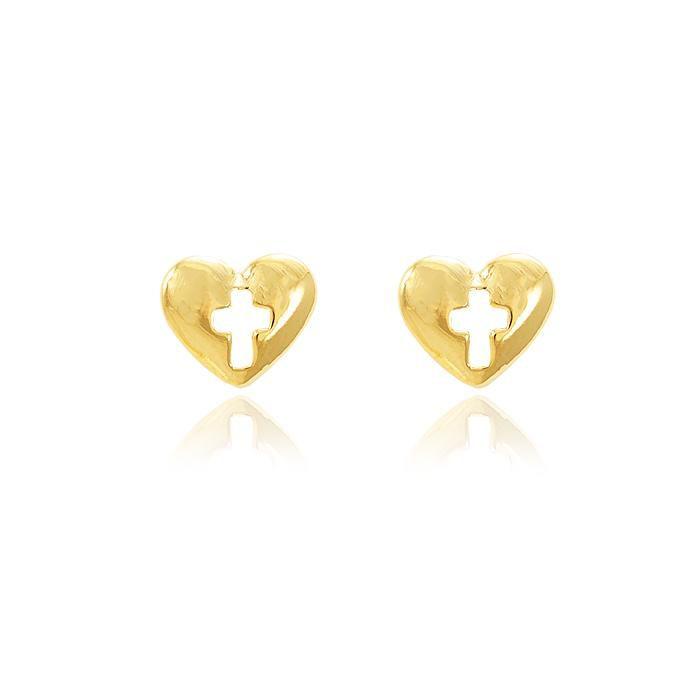 Brinco Folheado Ouro 18K Coração com Cruz Vazado