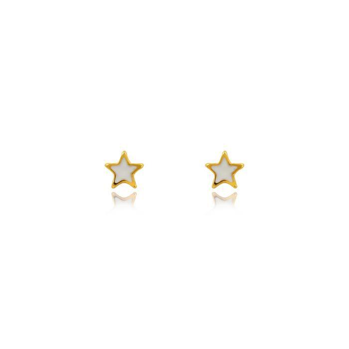 Brinco Infantil Folheado Ouro 18K Estrela com Resi