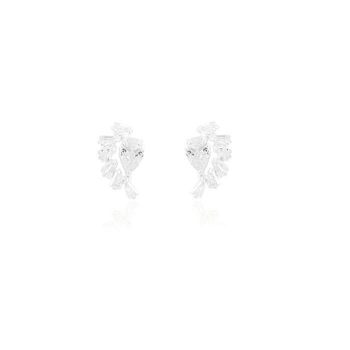 Brinco Prata 925 Ear Cuff com Zircônia Gota e Bagu