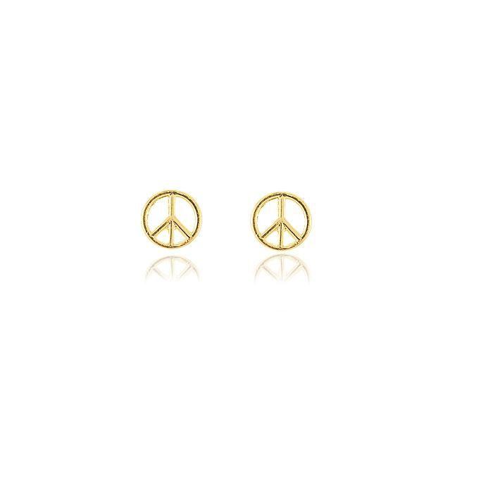 Brinco Simbolo da Paz Folheado Ouro 18K