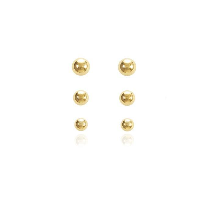 Brinco Trio ABS Folheado Ouro 18K