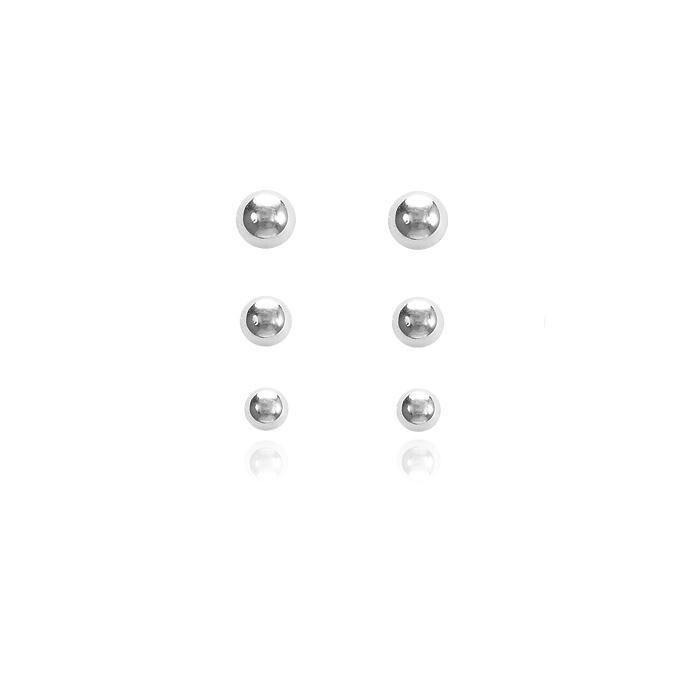 Brinco Trio ABS Folheado Ródio