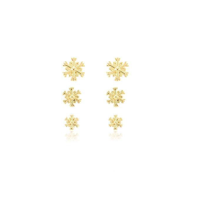 Brinco Trio Floco de Neve Folheado Ouro 18K