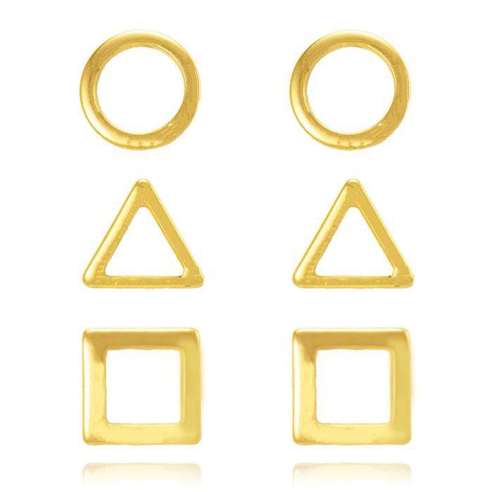Brinco Trio Folheado Ouro 18K Geométrico Círculo Q