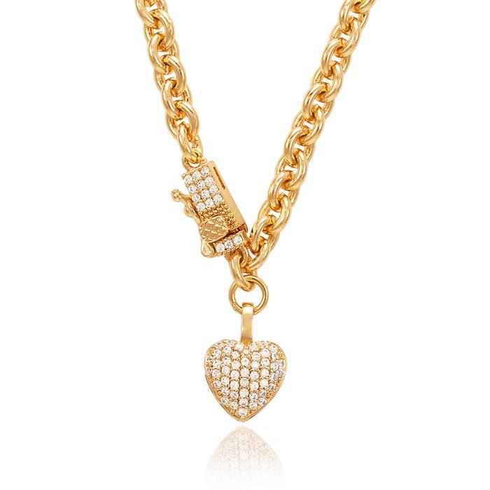 Colar Choker Folheado Ouro 18K Elos Pequenos com Coração Micro Zircônia Cristal