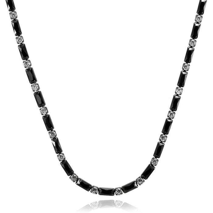 Colar Choker Folheado Ródio Negro Retângulos com Z