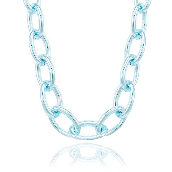 Colar Choker Folheado Steel Free Blue Elos Ovais