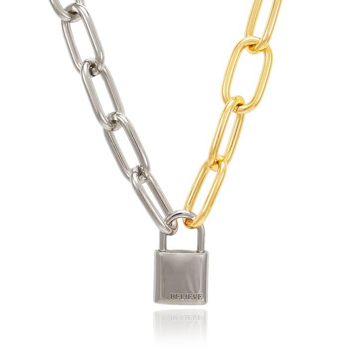 Colar Choker Folheado Steel Free Elos Dourado e Steel Free com Cadeado
