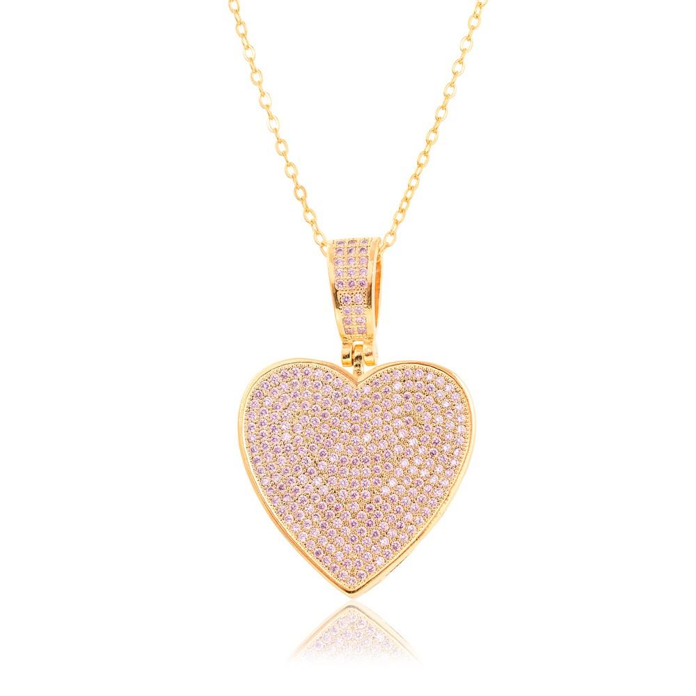 Colar Coração Folheado Ouro 18K com Micro Zircônia Rosa
