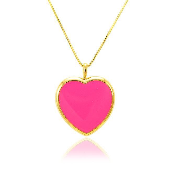 Colar Coração Folheado Ouro 18K Resina Pink