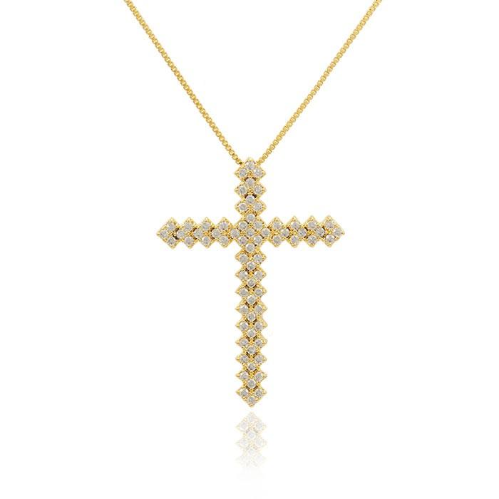 Colar Cruz Folheado Ouro 18K Micro Zircônia Cristal Inspired Thassia Naves