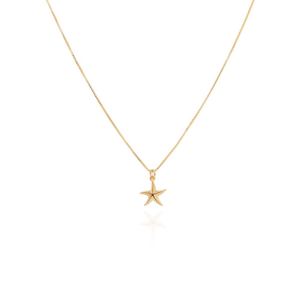 Colar Delicado Estrela do Mar Folheado Ouro 18K