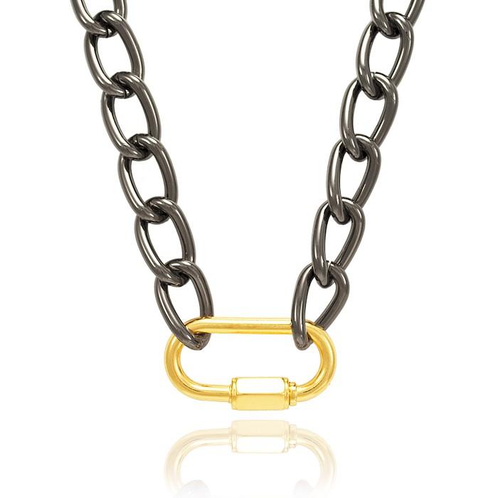 Colar Elos Ovais Folheado Steel Free Black com Fecho Mosquetão Oval Dourado
