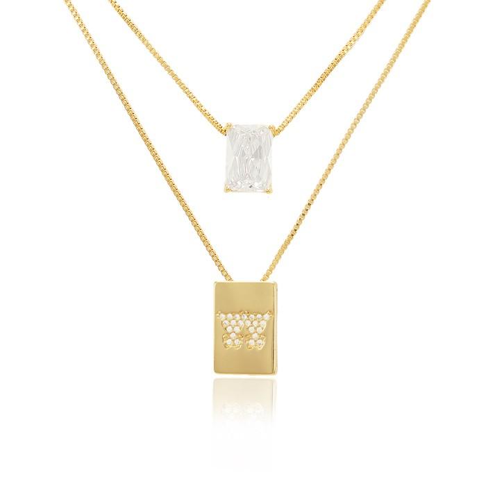 Colar Escapulário Folheado Ouro 18K Casal Meninas com Micro Zircônia Cristal