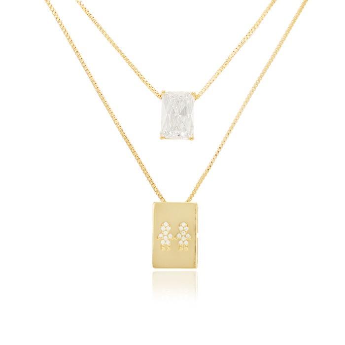 Colar Escapulário Folheado Ouro 18K  Casal Meninos com Micro Zircônia Cristal