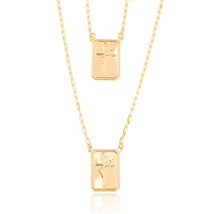 Colar Escapulário Folheado Ouro 18K Masculino Placa Fé em Forma de Cruz
