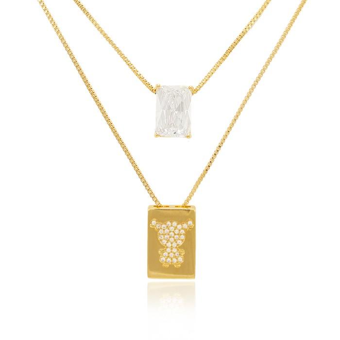 Colar Escapulário Folheado Ouro 18K Menina Micro Zircônia Cristal