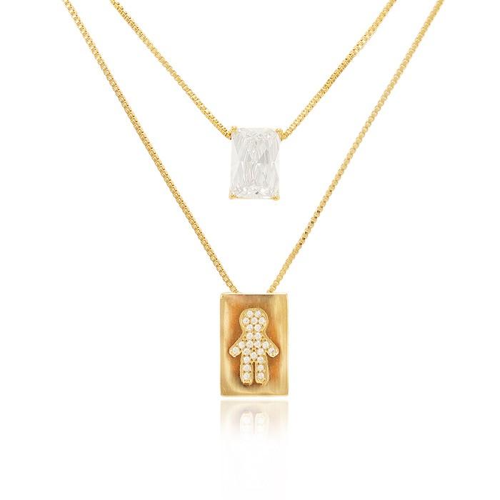 Colar Escapulário Folheado Ouro 18K Menino Micro Zircônia Cristal