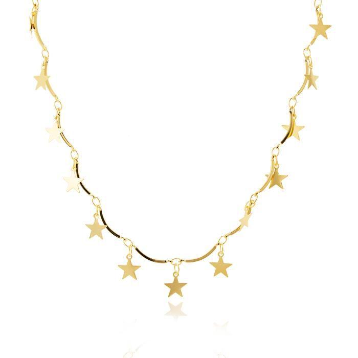 Colar Folheado Ouro 18K com Barrinhas e Estrelas L
