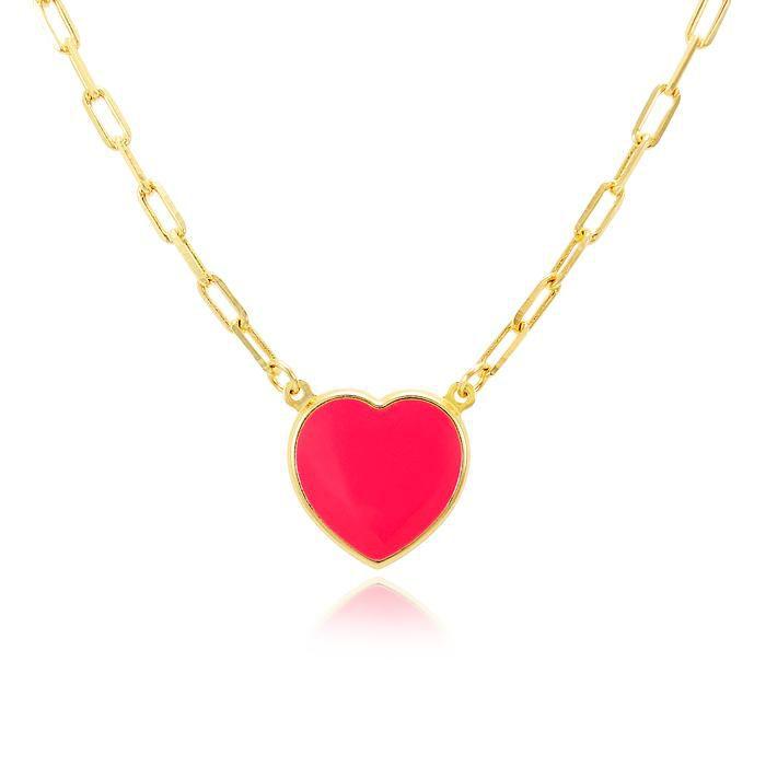 Colar Folheado Ouro 18K Coração com Resina Vermelh