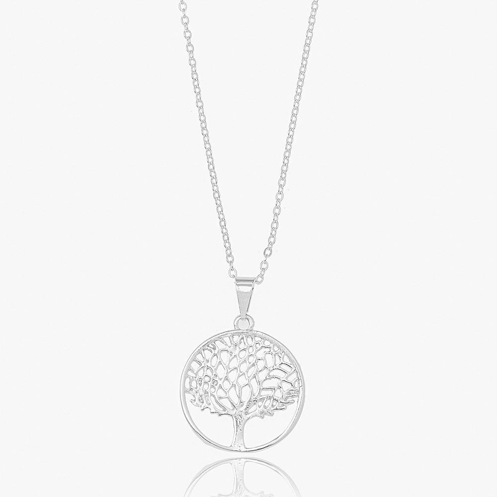 Colar Folheado Ródio Mandala Árvore da Vida Lisa