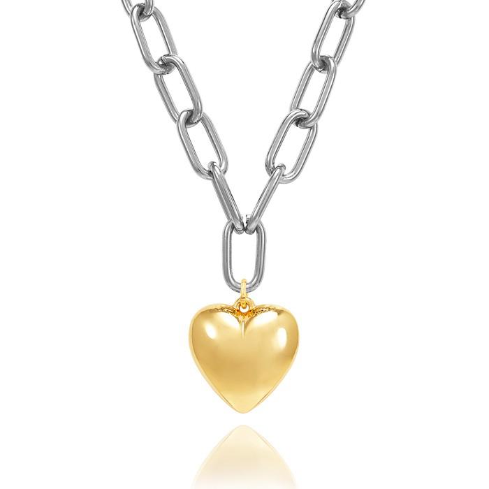 Colar Folheado Steel Free Elos com Pingente Coração Liso Dourado