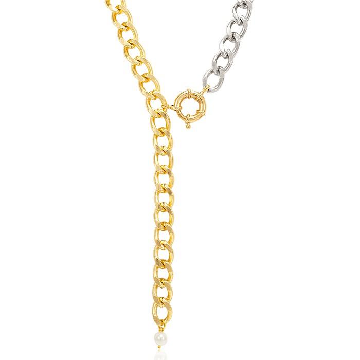 Colar Gravata Folheado Ouro 18K Elos Steel Free e Dourado com Pérola Pendurada