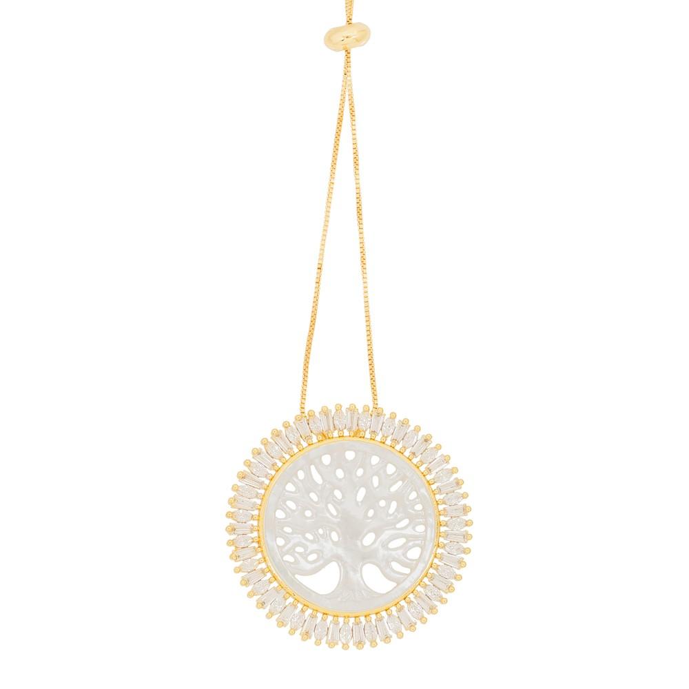 Colar Mandala Folheado Ouro 18K  Árvore da Vida de Pérola com Micro Zircônia