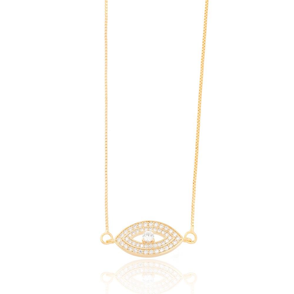 Colar Olho Folheado Ouro 18K com Micro Zircônia e Pedra Central Redonda Cristal