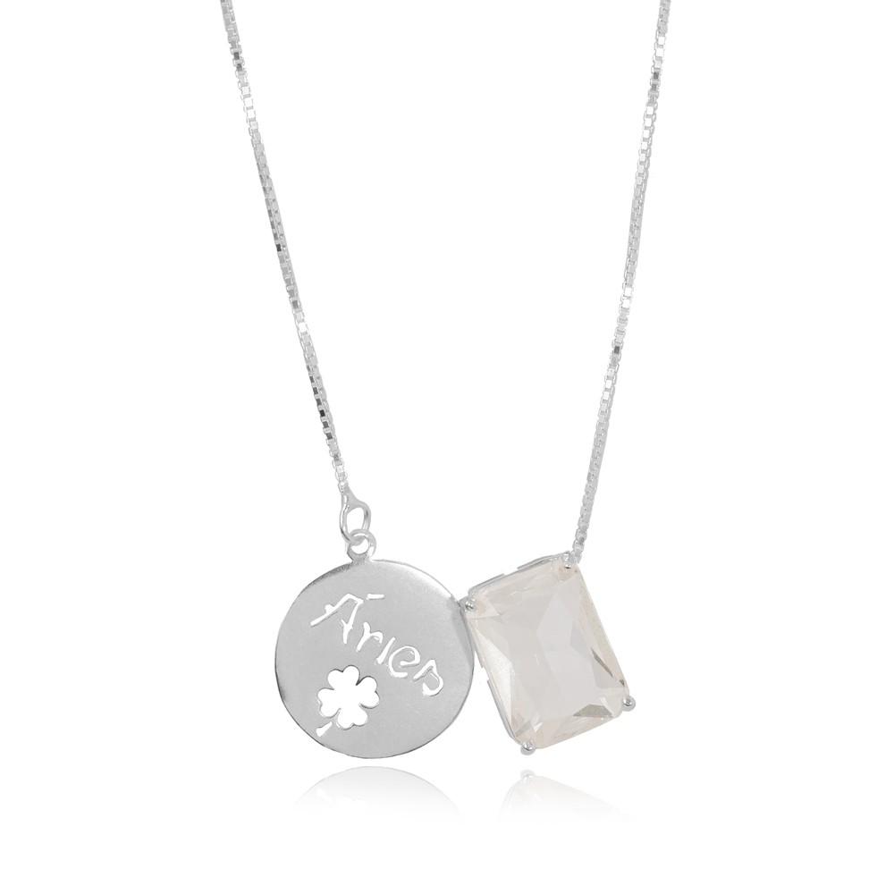 Colar Prata 925 com Placa de Signo Áries com Cristal