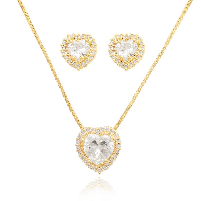 Conjunto Coração Folheado Ouro 18K Micro Zircônia com Pedra Central Cristal