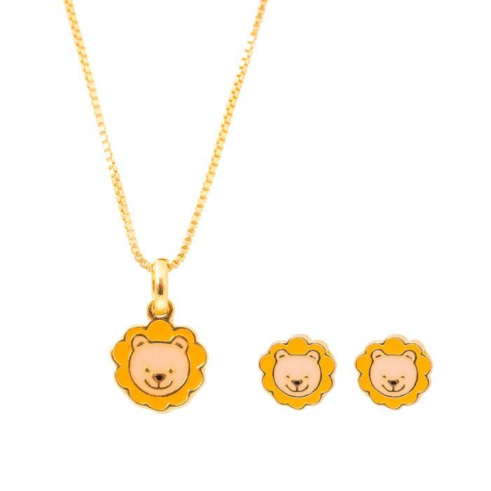 Conjunto Infantil Folheado Ouro 18K Leão Resinado