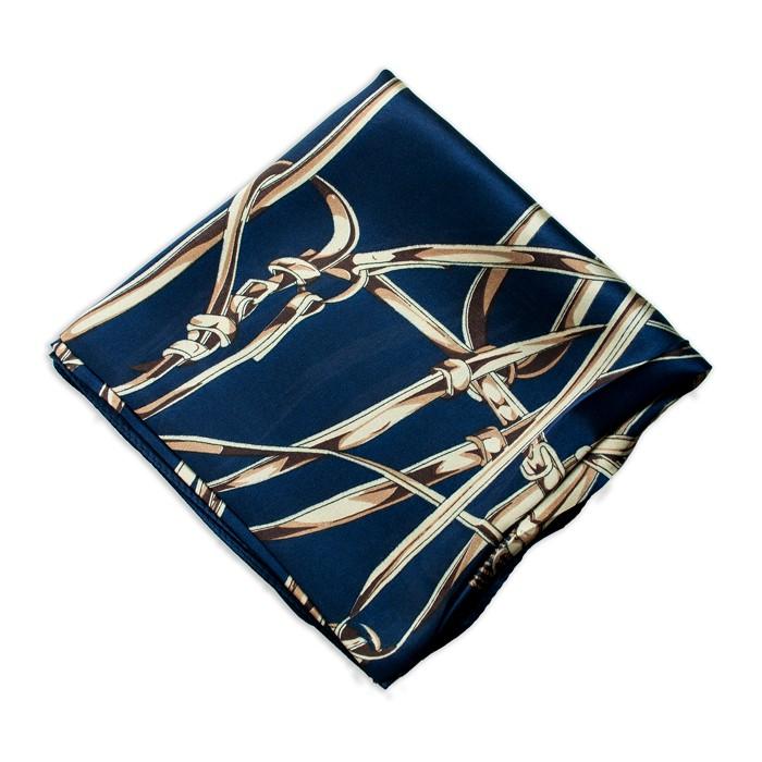 Lenço Azul Marinho com Estampa de Cintos