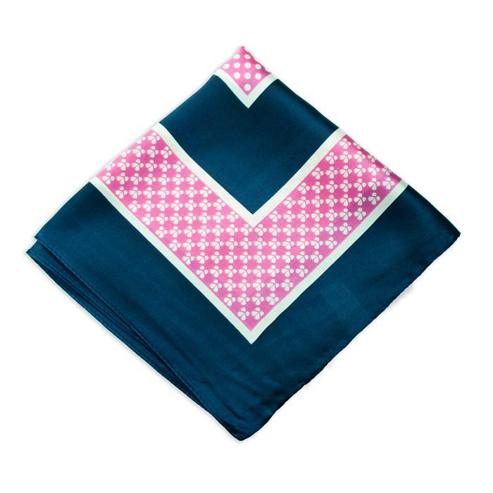 Lenço Azul Marinho e Rosa com Estampa Bolinhas