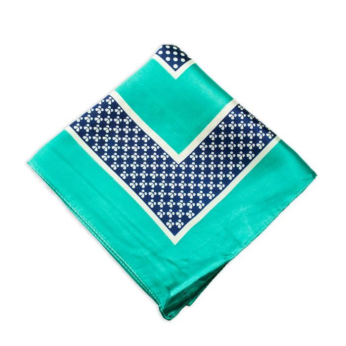 Lenço Verde e Azul Marinho com Estampa Bolinhas