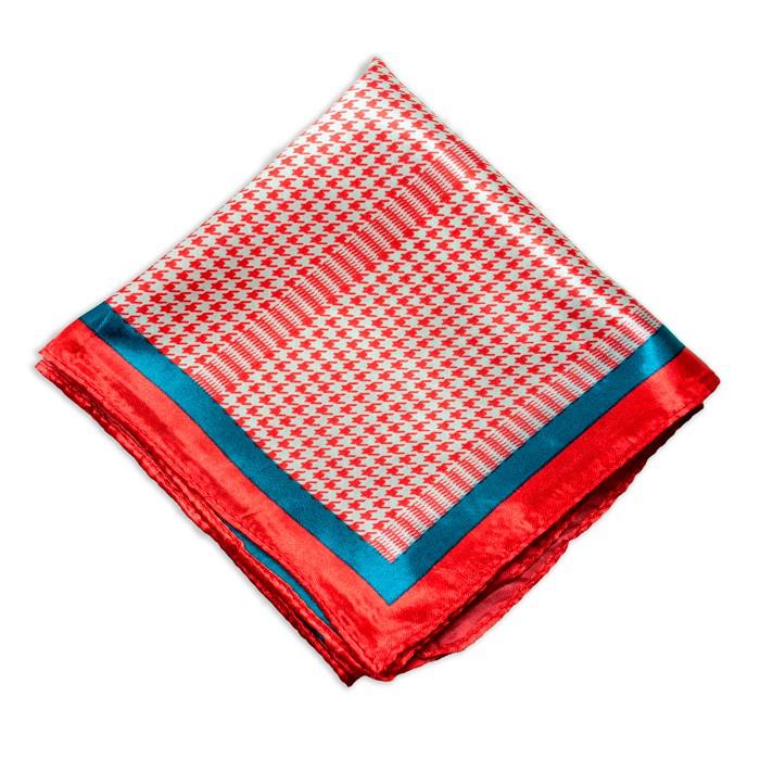 Lenço Vermelho e Azul Marinho   com Estampa Xadrez