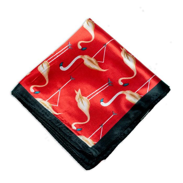Lenço Vermelho e Preto com Estampa de Flamingo