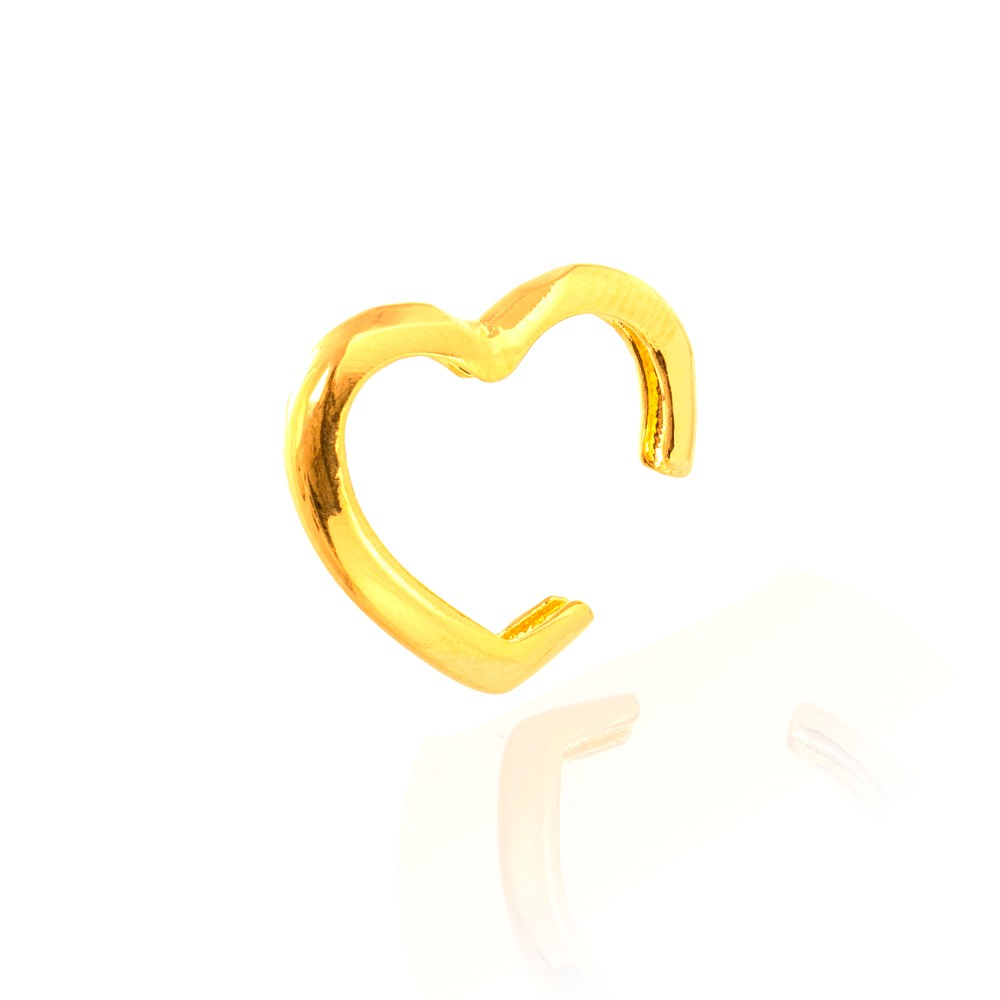 Piercing Fake Coração Liso Folheado Ouro 18K