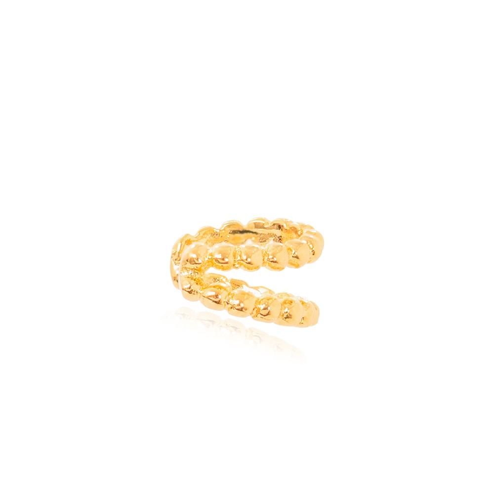 Piercing Fake Duplo  de Bolinhas Interligadas Folheado Ouro 18K