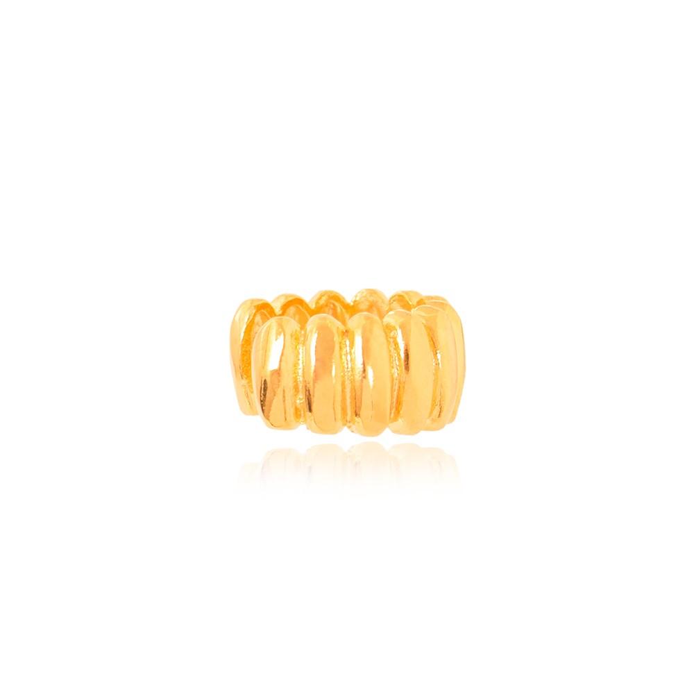 Piercing Fake Folhado Ouro 18K com Detalhes Retangulares